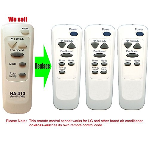 HA-413 Replacement for COMFORT AIRE Air Conditioner Remote Control 6711A20093A Works For BD-123 BD-81 BG-101A BG-123A BG-123B BG-81A BGE-103A BGE-123A CD-101 CD-101-5 CD-121 CD-81 CD-81-5