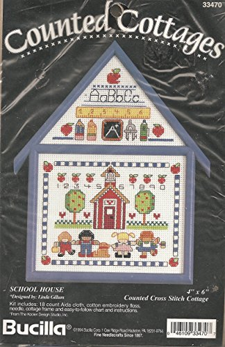 Vintage 1994 Bucilla School House Counted Cross Stitch Cotta