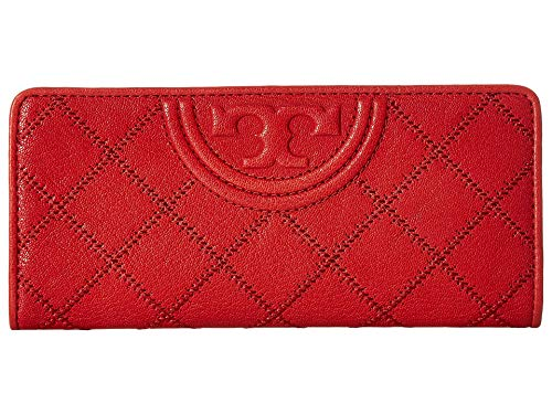 Tory Burch Women's Fleming Distressed Slim Envelope Wallet, Cherry Apple, Red, One Size