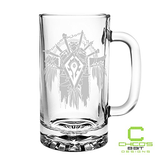 World of Warcraft - Horde Crest - Etched Beer Mug
