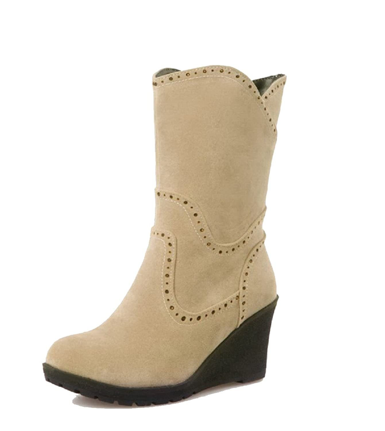 VogueZone009 Women's Solid Imitated Suede High-Heels Pull-On Round Closed Toe Boots