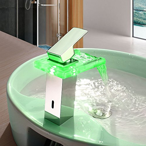 new Bathroom vessel sink tub basin Faucet Centerset Single Handle Color Changing LED Waterfall(Chrome Finish)