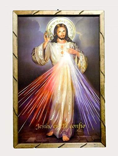 Señor De La Misericordia Imagen Cuadro Rustico 36'' x 24'' Divine Mercy Rustic Wood Frame Hecho En Mexico # 18974