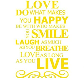 Amazon.com: Live Laugh Love Smile and Happy Quote Vinyl Wall ...