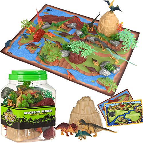 (Dinosaur Toys Kids Play Set - 51 Piece Playset of Realistic Dinosaurs Figures in a Bucket Incl Dinasors, Trees, Rocks & 2 Playmats - Lots of Dinosour Fun & Adventure, for Boys & Girls Age 3+)