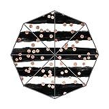 XinZuo Chic Rose Gold Confetti Black Watercolor Stripes Foldable Compact Umbrella