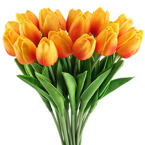 (GTIDEA 20 Pack Artificial Tulip Flower Branch Latex Real Touch Fake Flores Wedding Bouquet Home Party Decor (Orange) )