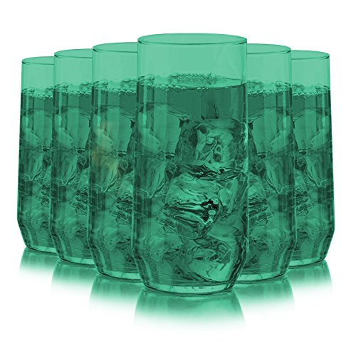 Libbey Diamond Swirl 6 -Piece Glassware Set Full Aqua Color Additional Vibrant Colors Available by TableTop King