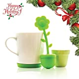Live Infused Premium Tea Infuser Set, Silicone Infuser, Ceramic Flower Pot Holder and Ceramic Tea Mug with Built in Removable Coaster