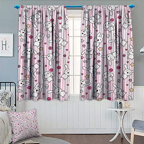 Chaneyhouse Doodle Window Curtain Drape Loveable Bunnies Numerous Facial Expressions Smiling Winking Sleeping Determined Decorative Curtains for Living Room 55
