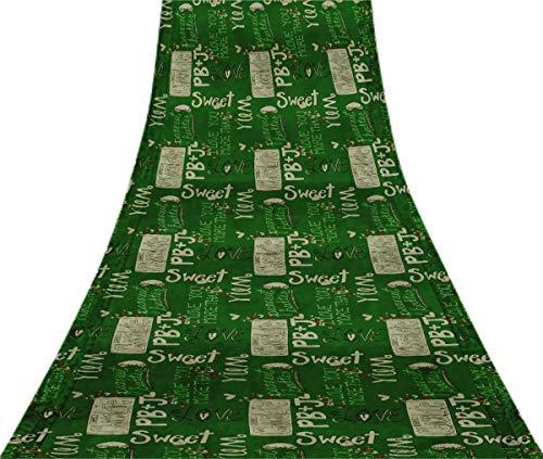 Svasti Heart & Love For Chocolate Text VintageSareeGreen Pure Silk Printed Refurbished Craft Fabric 5 Yard