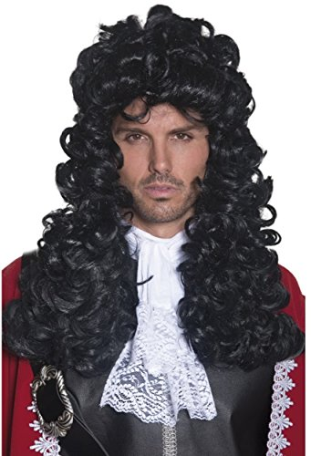 Smiffys Men's Long and Curly Black Pirate Captain Wig, One Size, 5020570420416 -