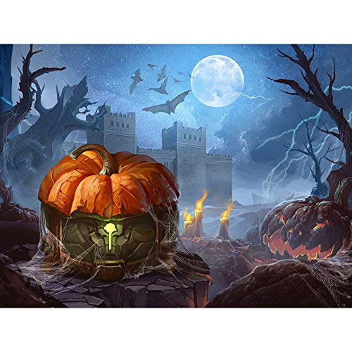 Vacally 5D DIY Diamond Painting ,Halloween Diamond Painting by Number Kits Drill Rhinestone Embroidery for Wall Decoration Pumpkin Ghost