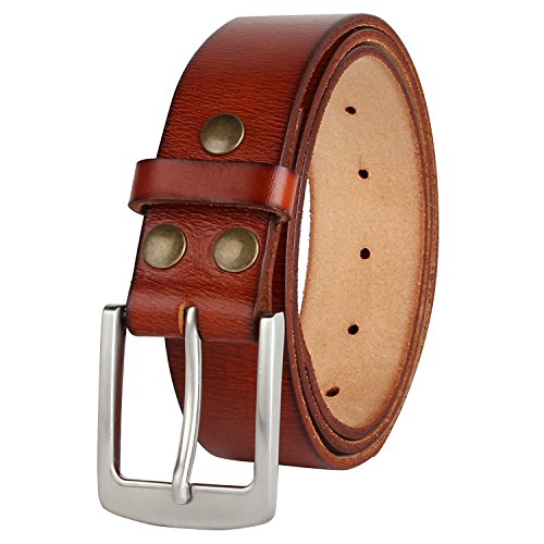 NPET Men's Genuine Leather Belt Fashion Belt with Strong Pin Buckle 1.5