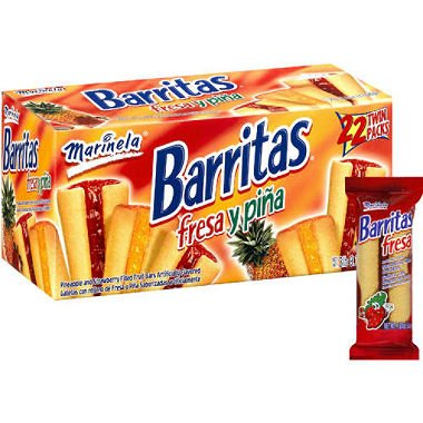 Marinela Barritas Strawberry and Pineapple Filled Cookies - 22 Packs (2 pieces each)