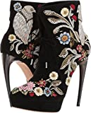 Alexander McQueen Women's Medieval Embroidered Horn Heel Bootie Black/Multi Cocktail/Black 39 M EU