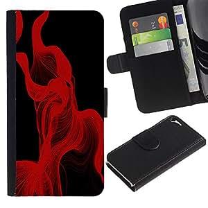 A-type (Líneas rojas Resumen) Colorida Impresión Funda Cuero Monedero Caja Bolsa Cubierta Caja Piel Card Slots Para Apple iPhone 5 / iPhone 5S