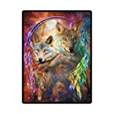 58″ x 80″ (Large) Cool Dreamcatcher Wolf Bed Blankets/Bedspread/Plush Cotton Throw/Cozy Blanket/Fleece Blanket