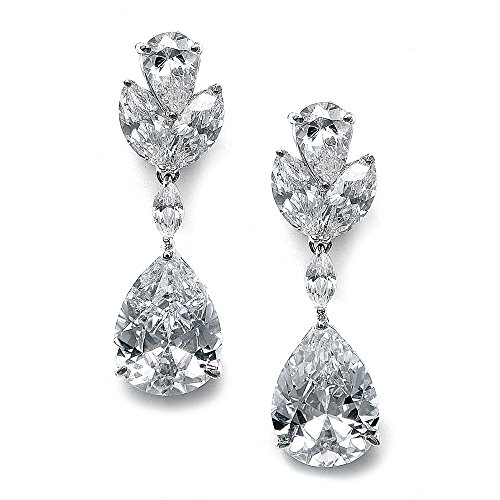 Mariell CZ Bridal Dangle Earrings with Bold Pear-Shaped Zircon Teardrops - Genuine Platinum Plated (Marquis Shaped Earrings)