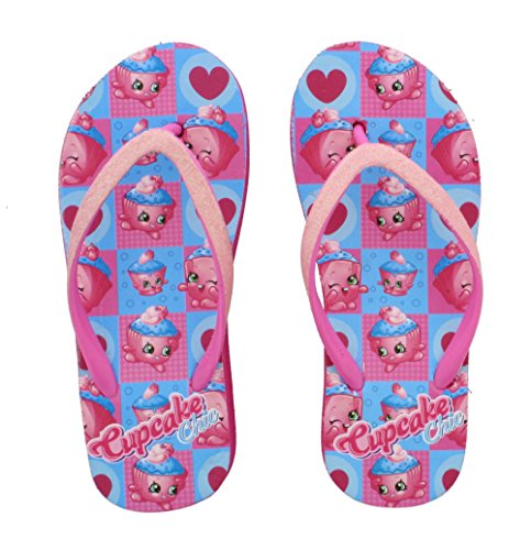 Shopkins Little Girl's Wedge Flip Flop Sandals (Large (2/3), Cupcake