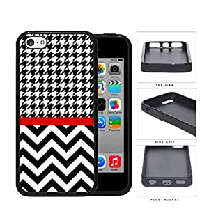 Black and White Houndstooth Pattern on Top with Chevron Pattern on Bottom and Red Line in Center Rubber Silicone TPU Cell Phone Case Apple iPhone 5c by runtopwell