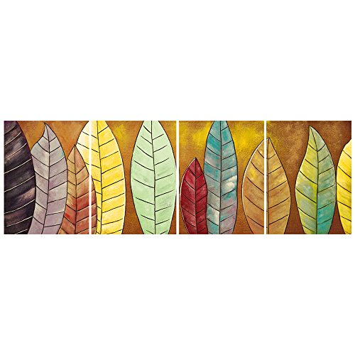 GEVES Modern Abstract Colorful Leaves Rustic Wall Art Painting Contemporary Artwork Giclee Canvas Prints Pictures Posters Stretched and Framed Ready to Hang Home Decor