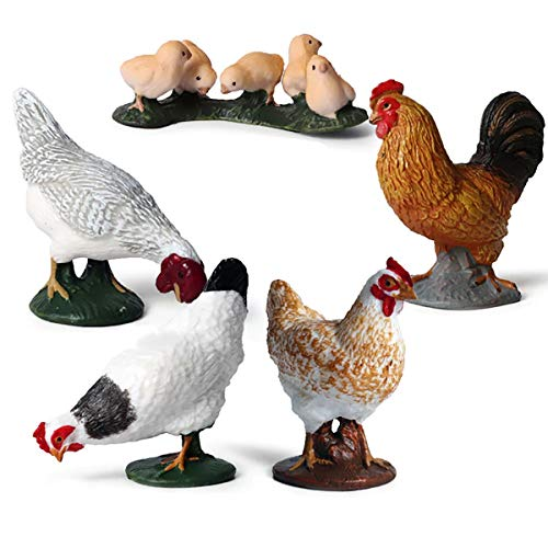 Kolobok - Farm Animals Action Figures - Chickens - Pets Animals Educational Toys - 5 pcs