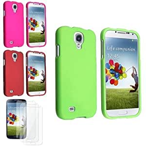 Quaroth eForCity Green + Pink + Red Snap on Hard Case + 3 Clear LCD Screen Protector Compatible with Samsung Galaxy S4...
