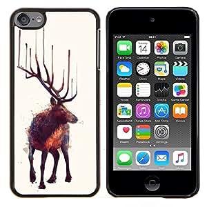 For Apple iPod Touch 6 6th Generation - MOOSE ART NATURE ANIMAL WILD FOREST PAINTING /Caja protectora de pl???¡¯????stico duro de la cubierta Dise???¡¯???¡À