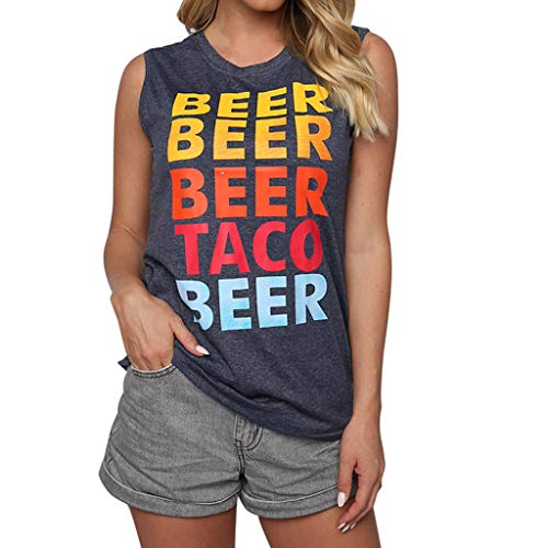 Funny Humor Jewelry - SMALLE_Clothing Graphic Tank Tops for Women,SMALLE◕‿◕ Women Adult Humor Funny t Shirts Sleeveless Workout Beer Tank Top Gray