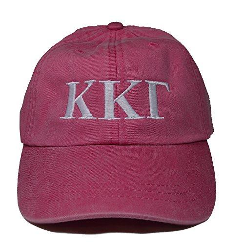 Kappa Kappa Gamma (L) Hot Pink with White Thread Sorority Baseball Hat Cap Greek Letter Sports Cap Adjustable Strap KKG