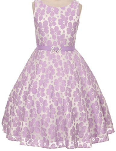 Big Girls' Floral Lace A-Line Jewel Accent Special Flower Girl Dress Lilac Size 12 (G35G48) Satin Graduation Dress
