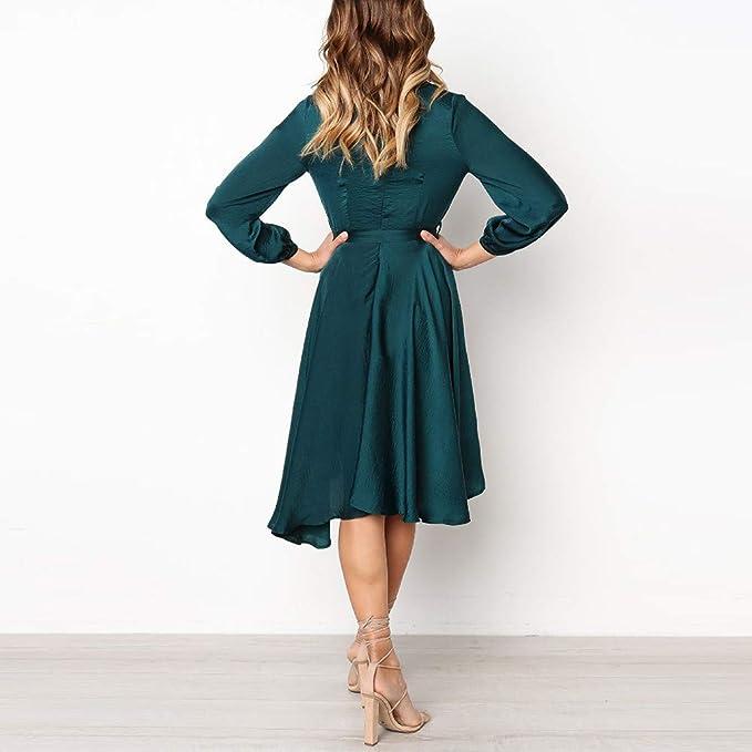 ad949c1c483 Amazon.com  Jiayit Womens Dresses Sexy Long Sleeve Solid Bow Belt Bandage  V-Neck Party Dress  Sports   Outdoors