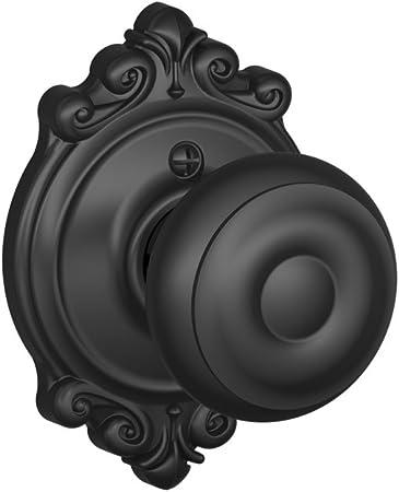 Georgian Knob Non-Turning Lock Matte Black F170 GEO 622