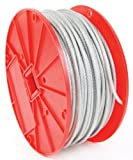 Koch 004102 Cable, 7 by 7 Construction, Trade Size 3/32-3/16 by 250 Feet, Galvanized with Clear Vinyl Coating
