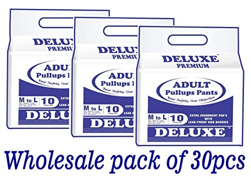 Deluxe Adult Diaper Pull up Pants, Medium/65-100cm/25-39 Inches (3 Packs of 30 Pieces)