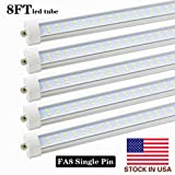 Cheap T8/T10/T12 8FT LED Bulbs Tube Light,8ft Single Pin FA8 Base, 65W 7000LM, 6000K Cold White,96″ Dual Row LED Fluorescent Bulbs (130W Replacement), Clear Cover, Dual-Ended Power (Ballast Removal),10-Pack