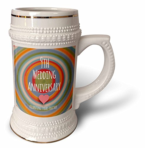 InspirationzStore Occasions - 9th Wedding Anniversary gift - Pottery celebrating 9 years together ninth anniversaries nine yrs - 22oz Stein Mug (stn_154440_1) ()