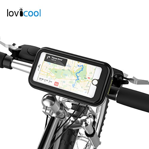 Handlebar Bag Mount (Lovicool Bike Phone Bag, Bicycle Mount Phone Holder Road Mountain Motorcycle Bag with Water Resistant Zipper Waterproof Sensitive Touch Screen Phone Case&Fingerprint Touch ID for Outdoor Cycling)