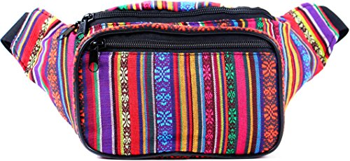 SoJourner Bags Fanny Pack - Tribal Boho Hippy Woven Eco Style (Orange Vertical))