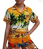 Raan Pah Muang Childrens Hawaiian Shirt in Summer Printed Rayon Seaside Beach Fun, 3-6 Years, Coconut Trees The sea Art Yellow