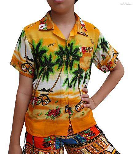 Raan Pah Muang Childrens Hawaiian Shirt in Summer Printed Rayon Seaside Beach Fun, 3-6 Years, Coconut Trees The sea Art Yellow by Raan Pah Muang