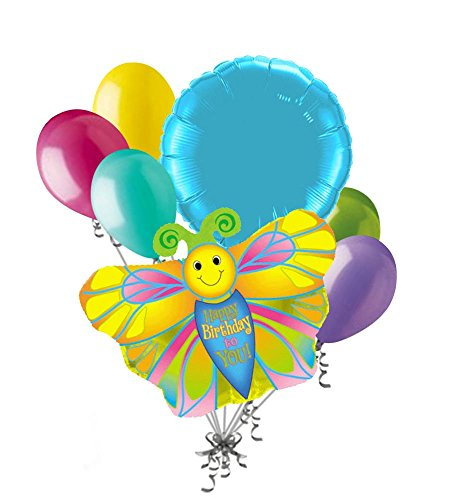 7 pc Yellow Happy Birthday Butterfly Balloon Bouquet Spring Turquoise Bright (Birthday Bouquet Spring)
