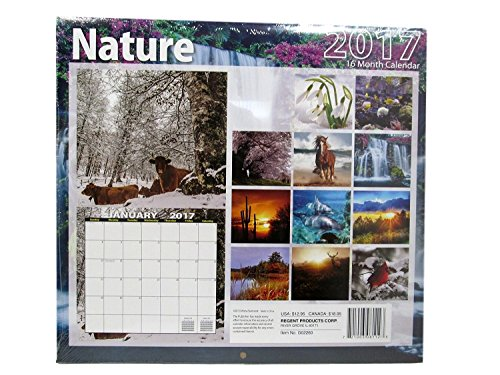 Nature – 2017 16 Month Calendar with 240 Reminder Stickers
