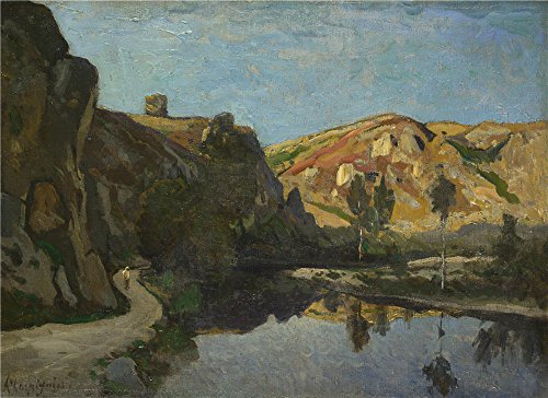 The high quality polyster Canvas of oil painting 'Henri Joseph Harpignies River and Hills ' ,size: 10 x 14 inch / 25 x 35 cm ,this High quality Art Decorative Canvas Prints is fit for Game Room gallery art and Home gallery art and Gifts
