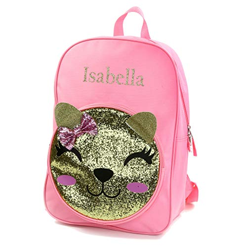 Personalized Girls' 17 Inch Backpack With Custom Name - Kitty