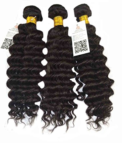 Queen Rose Virgin Indian Hair Extension 5A Grade Human Raw Unprocessed Hair, Weft Weaving Hair, Deep Wave Natural Curly Mixed Lengths Set 3 Bundles Lot 100g /Pc, 300g/lot, Natural Color (18 20 22)