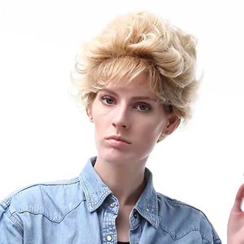 Ecurson Blonde Short Hair Wig Hairstyle Synthetic Short Hair Wigs For Women (Jane Fonda Wigs)