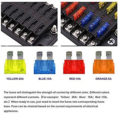 12-Way Fuse Box Blade Fuse Block Holder Screw Nut Terminal W/Negative Bus 5A 10A 15A 20A Free Fuses LED Indicator Waterpoof Cover for Automotive Car Marine Boat: Home Improvement