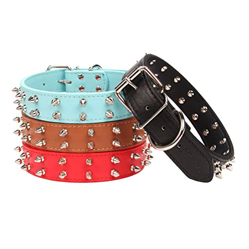 AOLOVE Basic Classic 2 Rows Spiked Rivet Studded Adjustable Leather Pet Collars for Medium Large Dogs